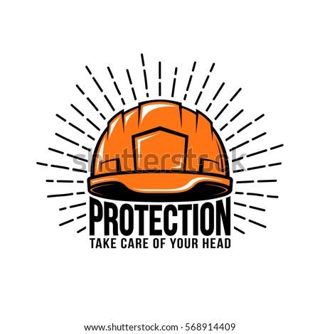 Retro logo with builder helmet, sunburst, inscription on a white background. Vector illustration.