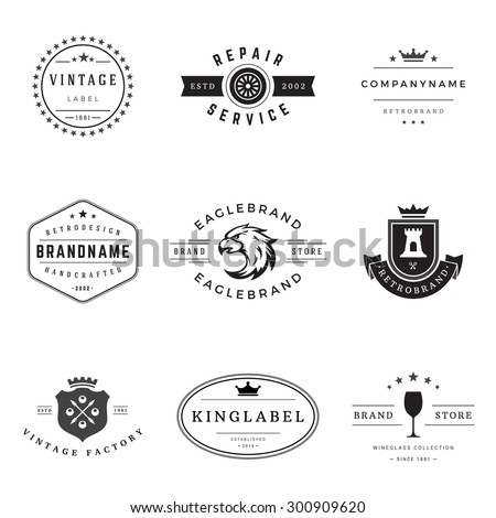 Retro Logotypes vector set. Vintage graphics design elements for logos, identity, labels, badges, ribbons, arrows and other objects.