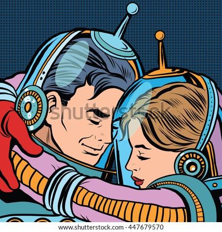 retro love couple astronauts