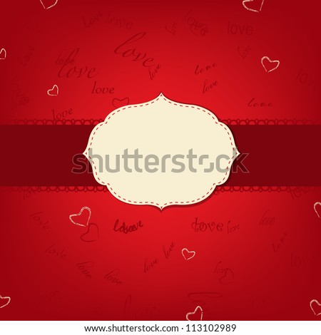 Retro Love Greeting Card With Text, Vector Illustration