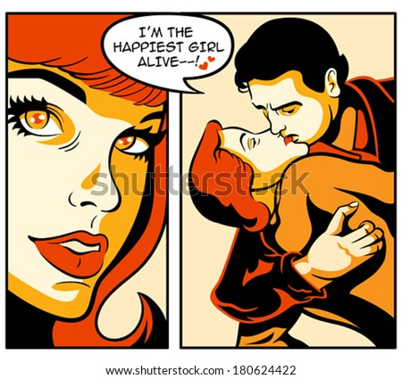 retro love story in comics strip