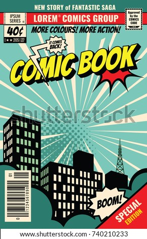Retro magazine cover. Vintage comic book vector template. Book cover for comic cartoon magazine page illustration