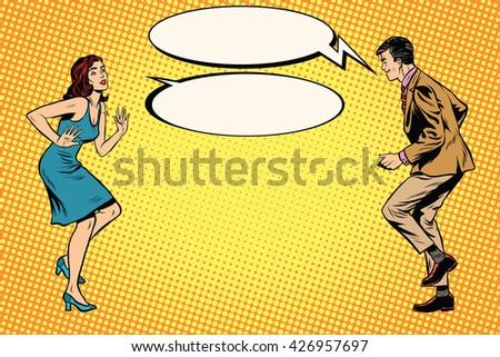 retro man and woman dancing pop ...
