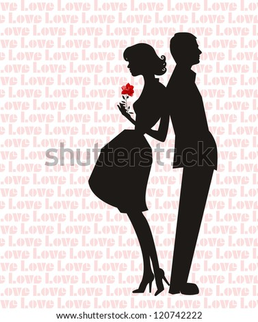 retro man and woman silhouette