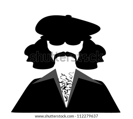 retro man with bushy hair wearing hat