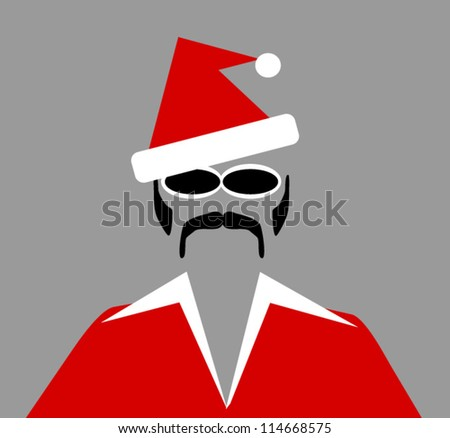 retro man with santa hat and sunglasses