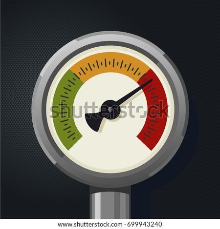 Retro manometer. Realistic vintage pressure gauge. Metallic pressure sensor.