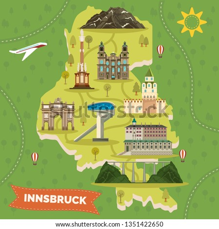 Retro map of Innsbruck Austria with famous landmarks. Triumphal arch and Europa Bridge, St. Anne s column and Hasegg, Ambras castle, Bergisel and Jacob, James cathedral, Hafelekarspitze. Sightseeing
