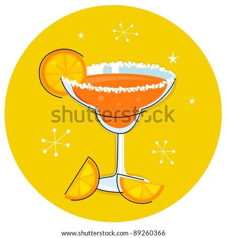 Retro Margarita drink or cocktail with citrus fruit isolated on white - orange