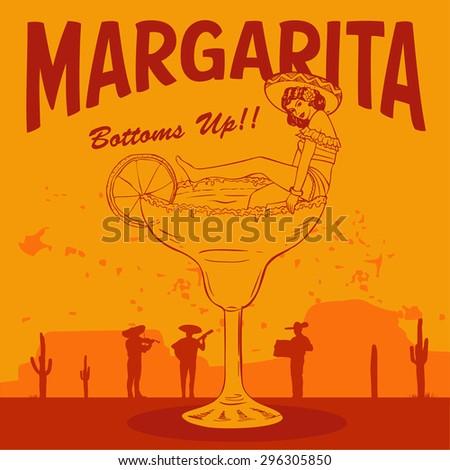 retro margarita sign  mexican