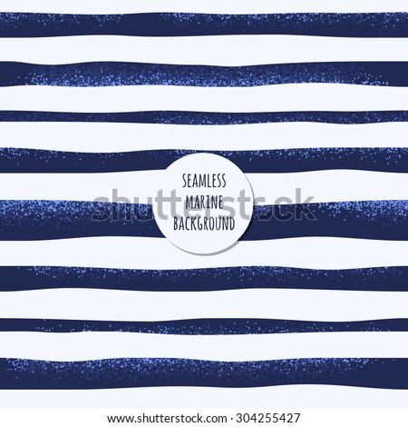 Retro marine background. Grunge striped vest seamless pattern, curved stripes