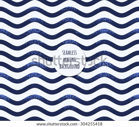 Retro marine background. Grunge striped vest seamless pattern. Sea waves, curved stripes