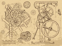 Retro mechanisms and machines in steampunk style on textured background. Hand drawn graphic illustration, sketch tattoo, retro technology collection with cogs, gear and wheels.