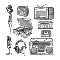 Retro media engraved illustrations set. Hand drawn sketch of vintage television, radio, tape recorder, cassette, microphones on white background. Nostalgia, retro technology, media, vintage concept