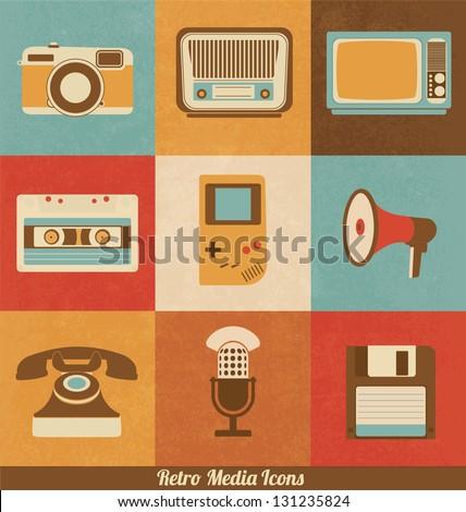 stock vector retro media icons 131235824 - Каталог — Фотообои «Ретро»