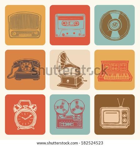 Retro media icons drawings set