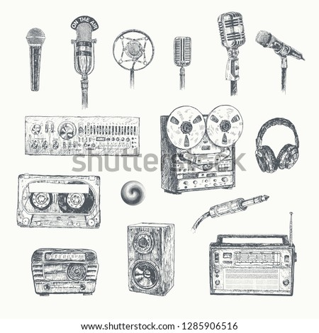 Retro media. Microphones, reel tape recorder, radio receiver, headphones, mixing console, cassette tape, audio plug microphone connector, sound speaker. Set of items music lover and radio. Vintage