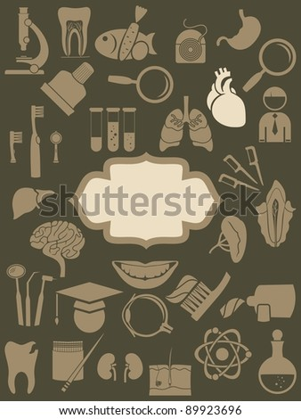 retro medical icons background with banner
