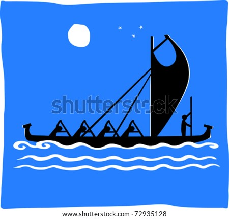 Retro Men Paddling Tropical Warrior Outrigger Canoe Racing at Night Vector Illustration