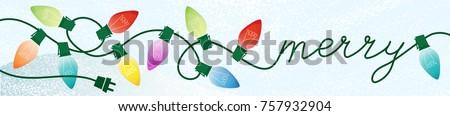 Retro Merry Christmas Writing Lights Snowy Background