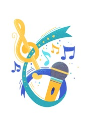 Retro microphone and music notes flat vector illustration. Song contest, vocal show. Singer, artist performance. Voice recording app, broadcasting studio logo. Professional retro mic, melody, tune