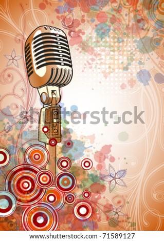 Retro Microphone & Floral calligraphy ornament - a stylized orchid & color paint background. Eps10