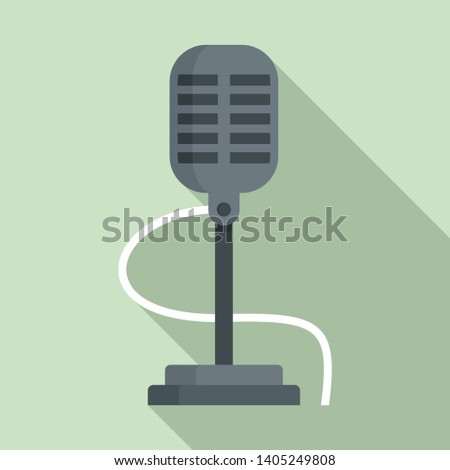 Retro microphone icon. Flat illustration of retro microphone vector icon for web design