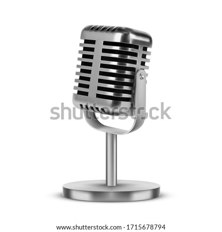 Retro microphone of silver metal vector realistic 3D mockup. Square shape microphone on short leg and stand, music award model template, karaoke, radio and recording studio sound equipment