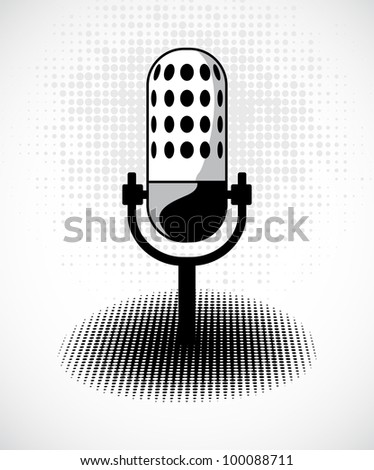 Retro microphone on dots card. Vector