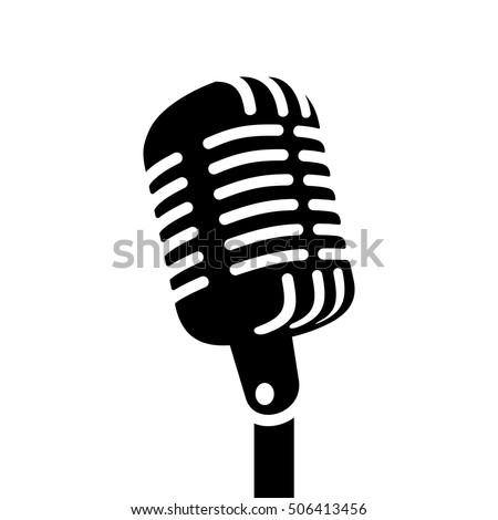 retro microphone sign vector...