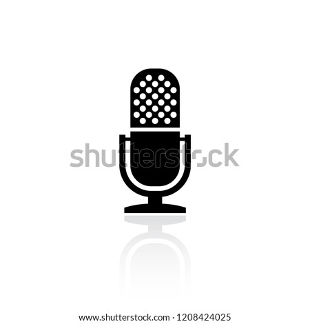 Retro microphone vector icon isolated on white background