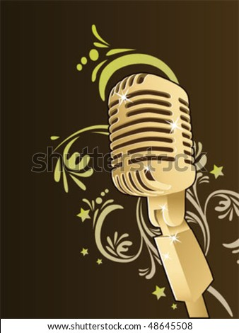 Retro Microphone Wallpaper Stock Vector 48645508 : Shutterstock