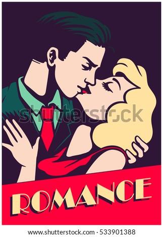 retro mid century lovers couple