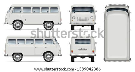 Retro minivan vector mockup on white background. Isolated passenger van view from side, front, back, top. All elements in the groups on separate layers for easy editing and recolor