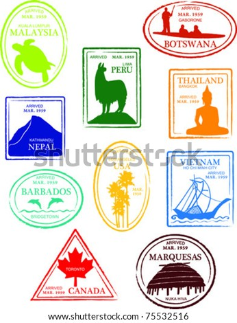Retro Miscellaneous World Set of Fun Country Passport Stamps Vector Illustration