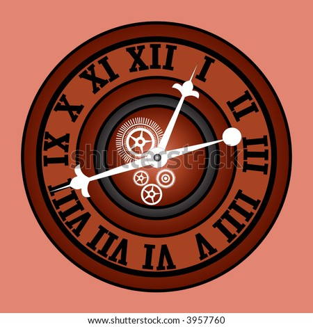 retro modern  clock with roman numerals and gears vector
