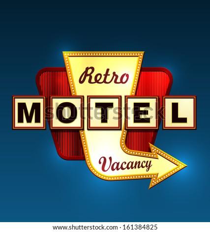 Retro motel road sign with an arrow. EPS10 vector.