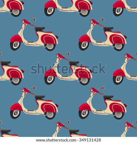 retro motor scooter  seamless