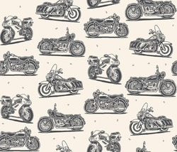 Retro motorcycles vector drawings seamless pattern
