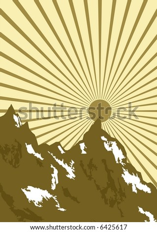 retro mountain - stock vector