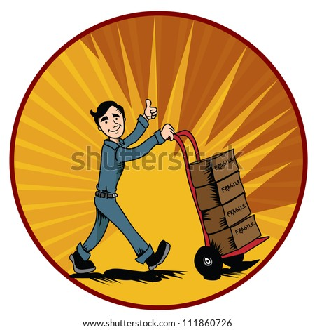 retro mover with dolly carrying boxes over retro color background