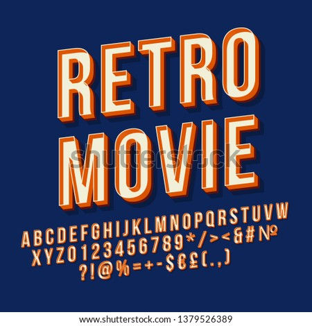 Retro movie 3d vector lettering. Vintage  bold font. Pop art stylized text. Old school style letters, numbers, symbols pack. 90s, 80s poster, banner, t shirt typography design. Navy color background
