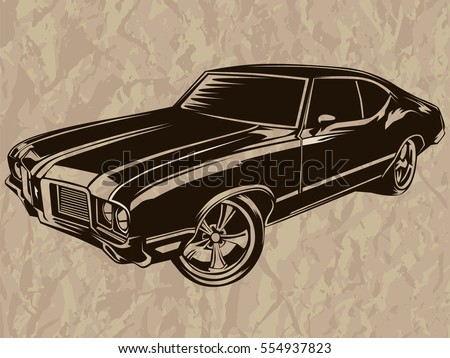 retro muscle car vector