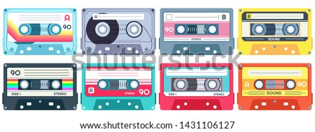 Retro music cassette. Stereo DJ tape, vintage 90s cassettes tapes and audio tape. antique radio play cassette, 1970s or 1980s rock music mix audiocassette. Isolated vector icons set Сток-фото ©