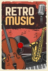 Retro music festival, jazz night or folk festival, vector vintage poster. Retro music band instruments, vinyl record player, synthesizer and orchestra violin, saxophone and singer microphone