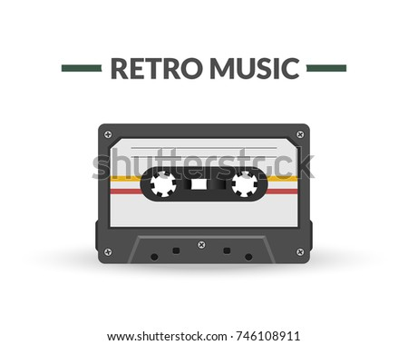 Retro music magnetic audio tape. Old style audio carrier
