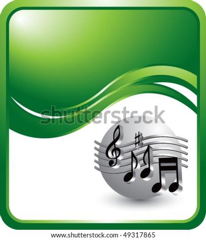 retro music notes green wave backdrop #49317865