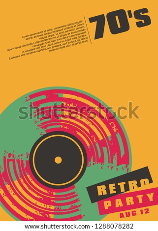 Retro music party conceptual poster design. Colorful vinyl record trendy artistic graphic. Vector leaflet concept for musical event.