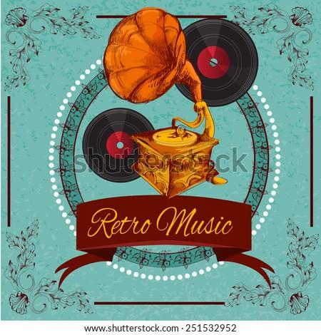 retro music poster with vinyl