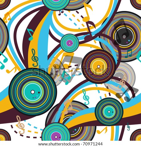 Retro music seamless bright vector texture
